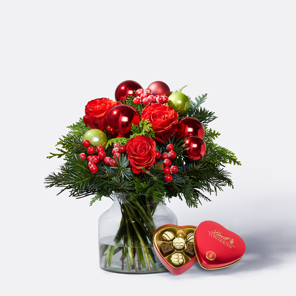 Blumenstrauß  Schönste Freude Größe M mit Lindt Herz