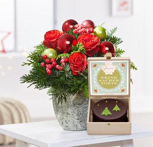 Blumenstrauß Schönste Freude mit weihnachtlicher Sacher in Rot und Grün