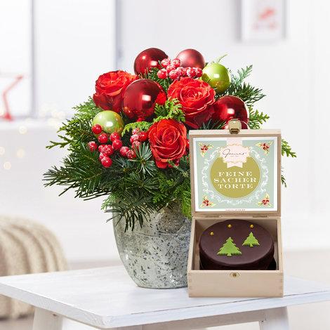 Blumenstrauß  Schönste Freude mit weihnachtlicher Mini Sachertorte