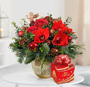 Blumenstrauß Engelszauber mit Mon Chéri in Rot, Kupfer und Grün
