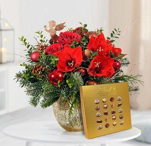 Blumenstrauß Engelszauber mit Lindt Mini Pralinés Goldedition in Rot, Kupfer und Grün