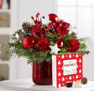 Blumenstrauß Weihnachtszeit mit Hachez Frohes Fest in Weiss, Rot, Grün und Braun