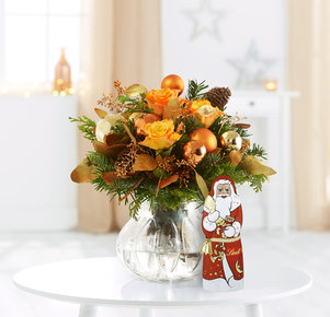 Blumenstrauß Glanzvolle Momente mit Lindt Weihnachtsmann in Rot, Orange, Gold, Kupfer und Grün