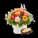 Blumenstrauß Für Dich viel Glück mit Geburtstagstörtchen