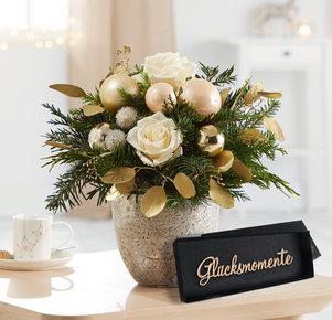 Blumenstrauß Weihnachtsgruß mit gratis Schriftzug Glücksmomente in Weiss, Creme, Gold und Grün