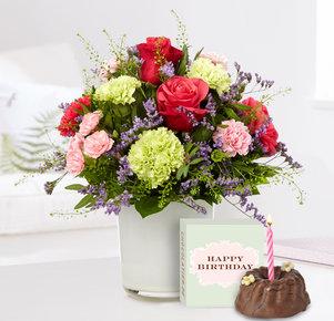 Blumenstrauß Schön, dass es Dich gibt mit Geburtstagsküchlein in Blau, Rosa und Pink