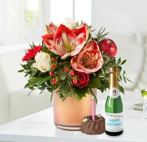 Blumenstrauß Amarylliszauber mit Geburtstagsküchlein und Piccolo in Rot und Creme