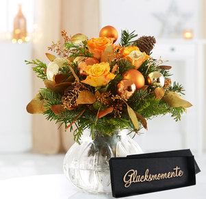 Blumenstrauß Glanzvolle Momente mit Schriftzug in Orange, Gold, Kupfer, Grün und Braun
