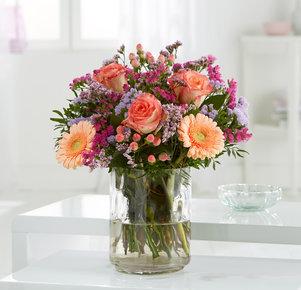 Blumenstrauß Alles wird gut! in Rosa, Lila und Apricot