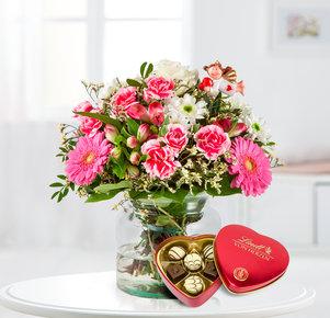 Blumenstrauß Schutzengel mit Lindt Herz in Weiss, Rosa, Pink und Grün