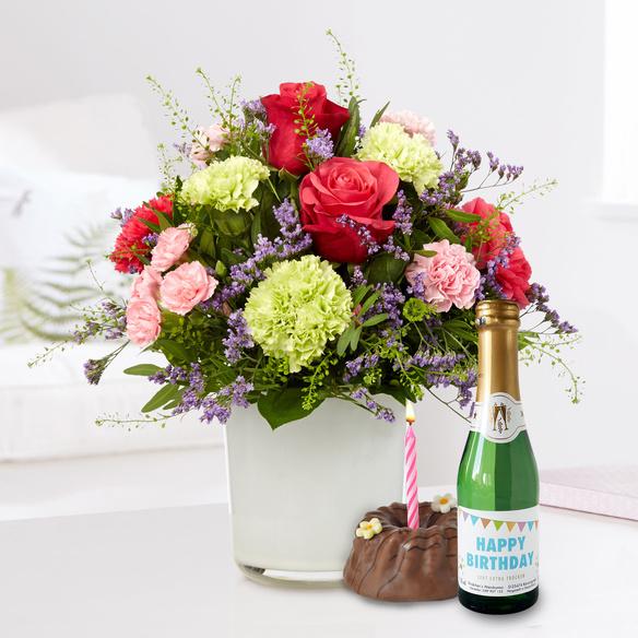 Blumenstrauß Schön, dass es dich gibt mit Geburtstagssekt und Törtchen in Weiss, Rot, Rosa, Lila und Grün