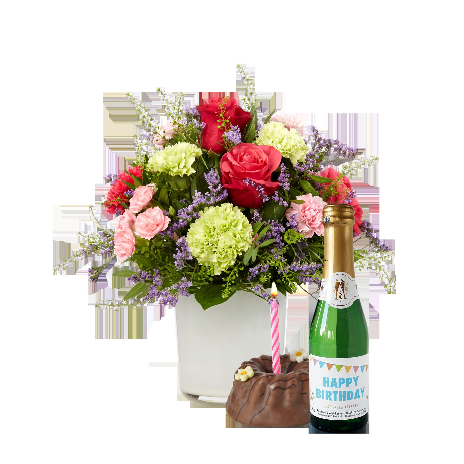 #Blumenstrauß Schön, dass es dich gibt mit Geburtstagssekt und Törtchen#