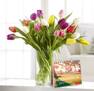 20 Stiele Bunte Tulpen mit Buch Herzenswünsche in Weiss, Rot, Rosa, Lila und Grün