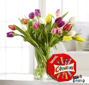 20 Bunte Tulpen mit Celebrations