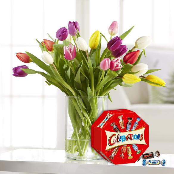 20 Stiele Bunte Tulpen mit Celebrations in Weiss, Rot, Gelb, Rosa, Lila und Grün