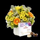 Blumenstrauß Geburtstagsüberraschung mit Hachez Pralinen Zum Geburtstag