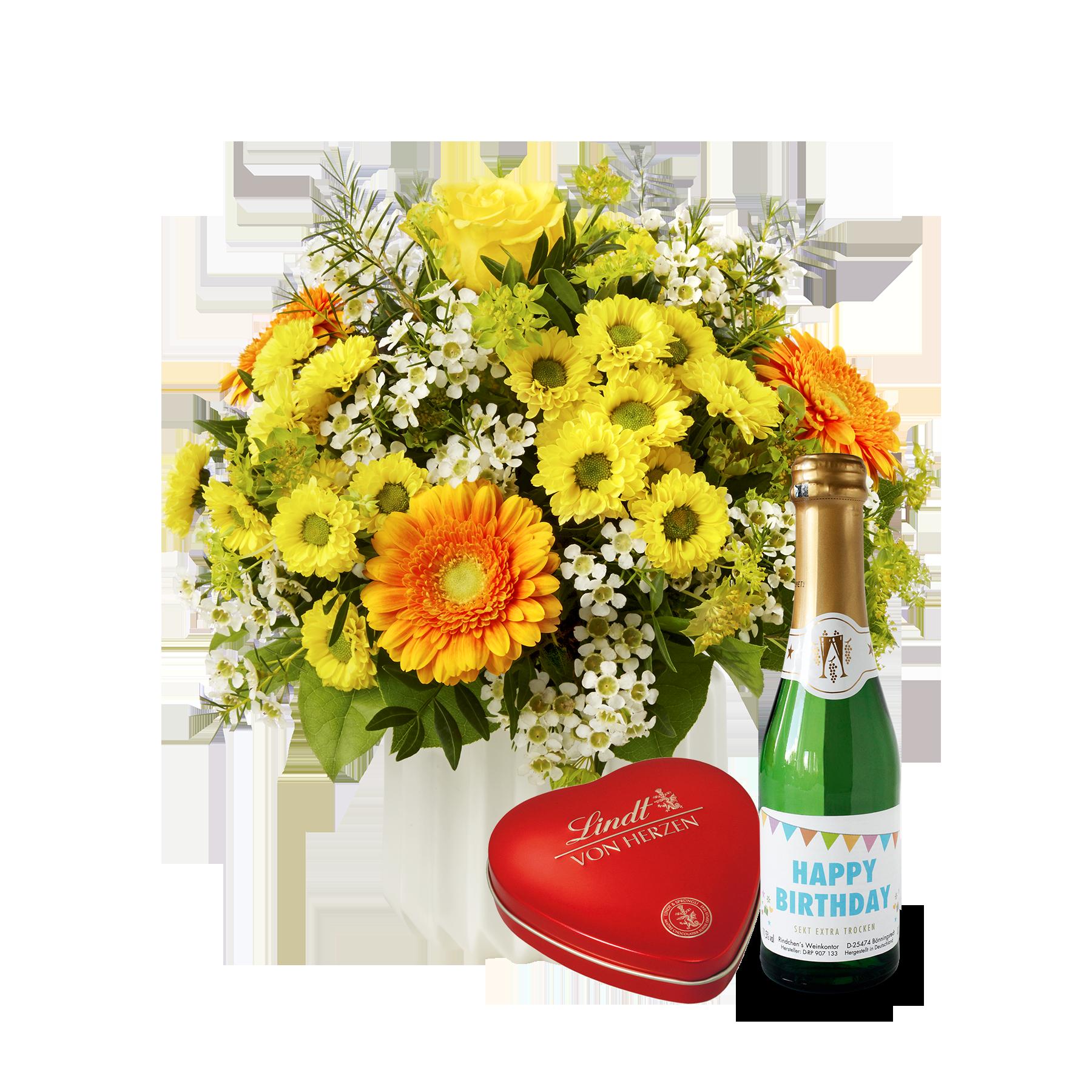 #Blumenstrauß Geburtstagsüberraschung mit Lindt Herz und Geburtstagssekt#