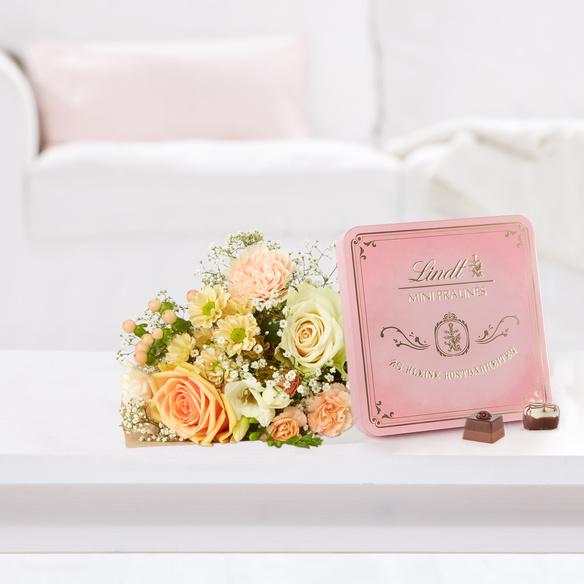 Blumenstrauß Kleines Glück mit Lindt Pralinés Dose in Weiss, Rosa, Creme und Grün