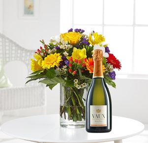 Blumenstrauß Farbenglück M mit Vaux Sekt in Weiss, Rot, Gelb, Orange, Lila und Grün