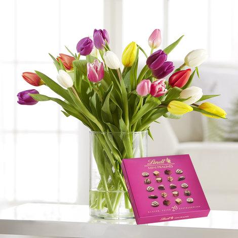 20 Stiele Bunte Tulpen mit Lindt Pralinés in Weiss, Rot, Gelb, Orange, Rosa, Lila und Grün
