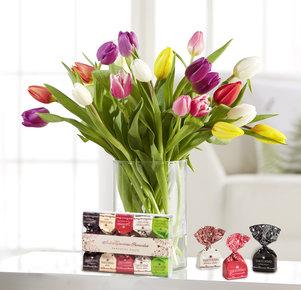 20 Stiele Bunte Tulpen mit Tartufini in Weiss, Rot, Gelb, Orange, Rosa, Lila und Grün