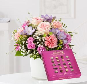 Blumenstrauß Blumenkuss mit Lindt Pralinés in Weiss, Rosa, Pink, Lila und Grün
