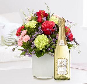 Blumenstrauß Schön, dass es dich gibt mit Sekt Jules Mumm in Rot, Rosa, Lila und Grün