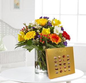 Blumenstrauß Farbenglück Größe M mit Lindt Pralinés in Rot, Gelb, Orange, Lila und Grün