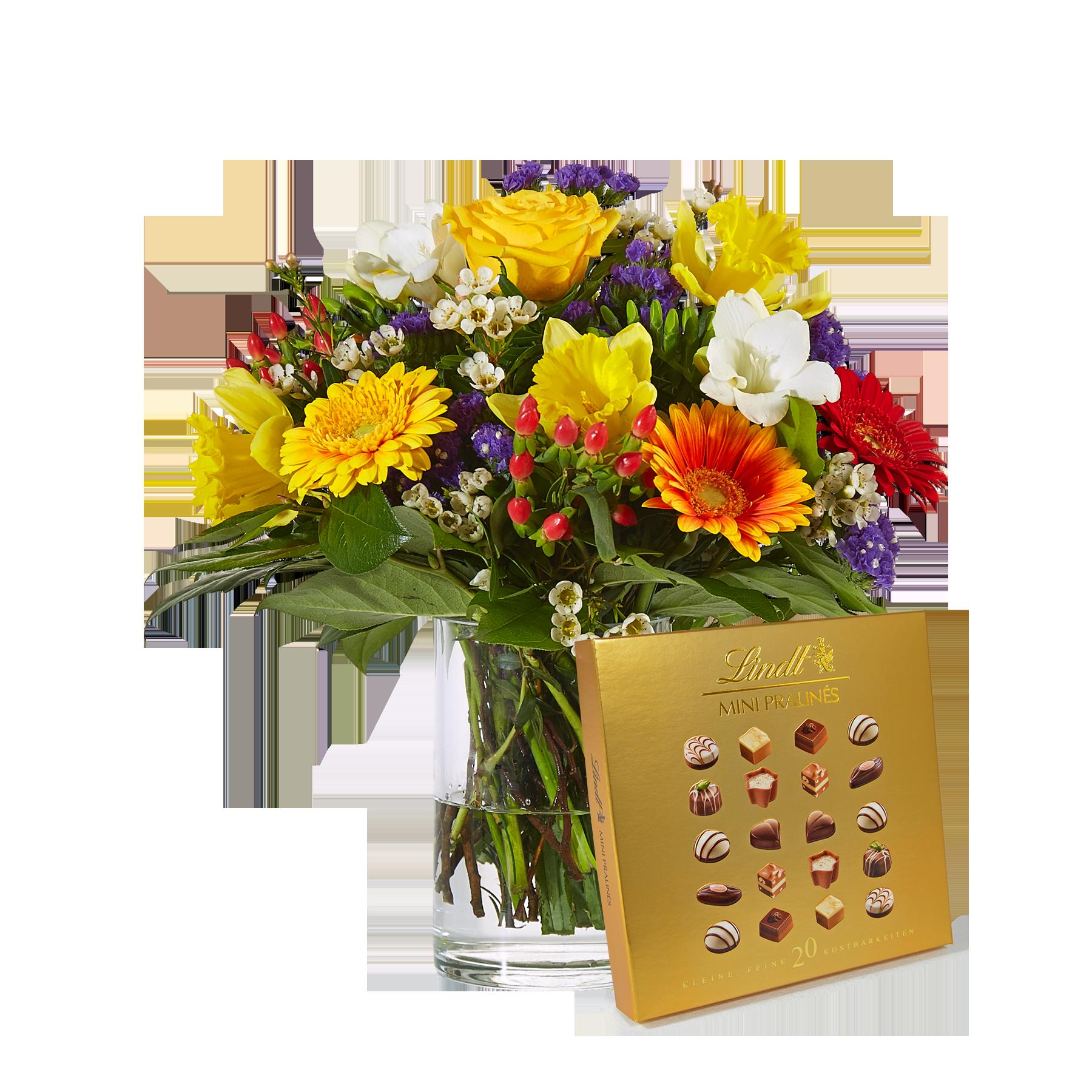 #Blumenstrauß Farbenglück Größe M mit Lindt Pralinés#