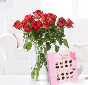 15 Rosen Rhodos mit Lindt Mini Pralinés Nur für Dich in Rot und Rosa