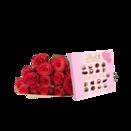 15 Rosen Rhodos mit Lindt Mini Pralinés Nur für Dich