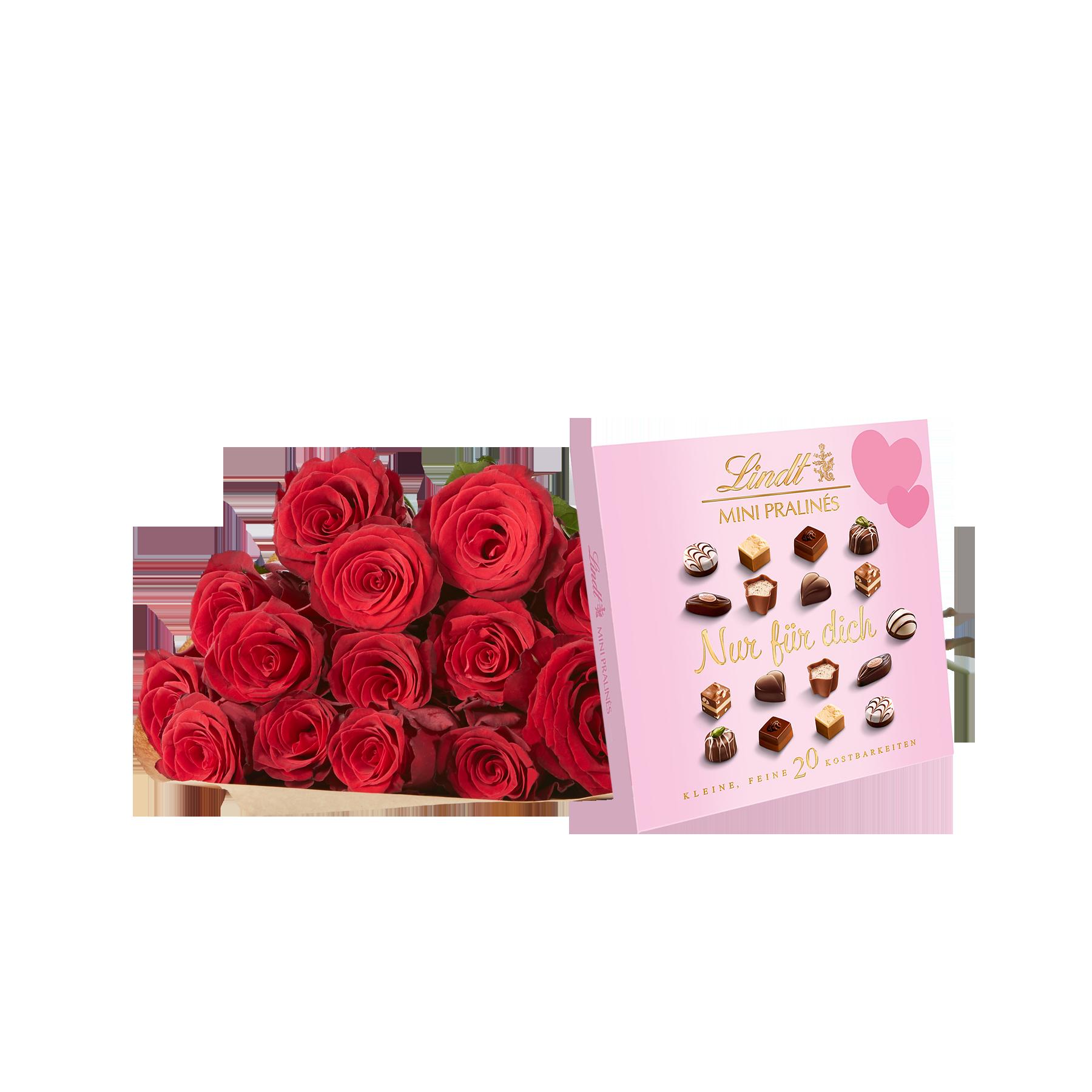 #15 Rosen Rhodos mit Lindt Mini Pralinés Nur für Dich#
