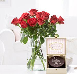 15 Rosen Rhodos mit Mini Sacher Ich liebe Dich in Rot und Braun