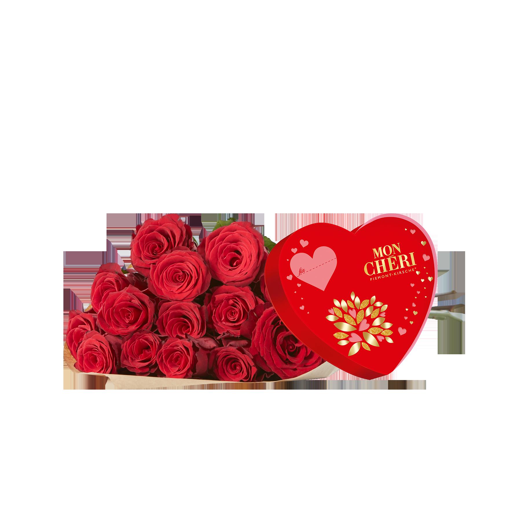 #20 Rosen Red Ribbon mit Mon Chéri Herz#
