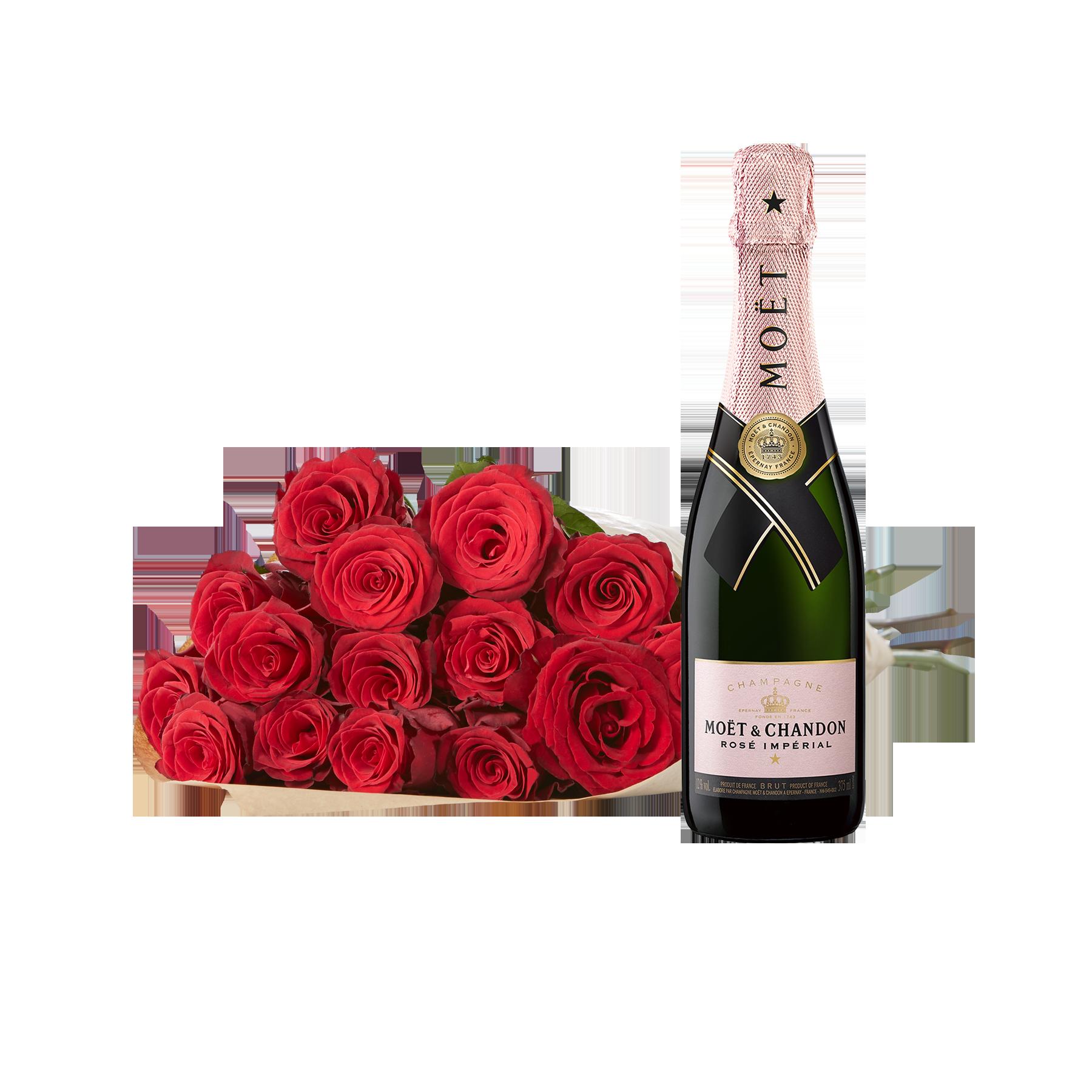 #20 Rosen Red Ribbon mit Champagner Moët Rosé#
