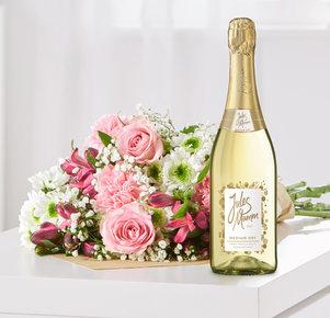 Blumenstrauß Blumenglück Größe M mit Sekt Jules Mumm in Weiss und Rosa
