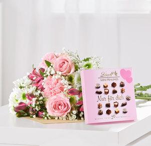 Blumenstrauß Blumenglück Größe M mit Lindt Mini Pralinés Nur für Dich in Weiss, Rot und Rosa