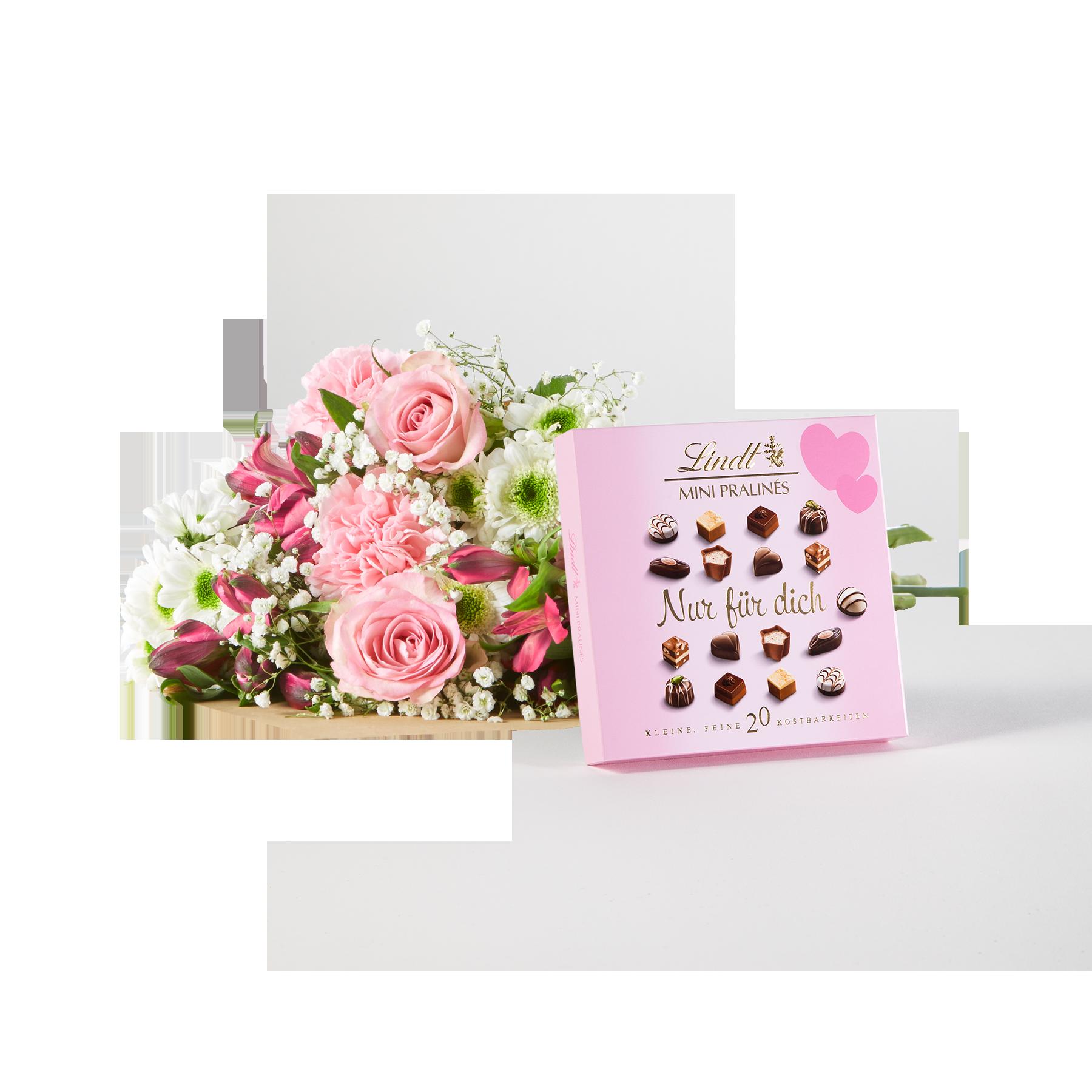 #Blumenstrauß Blumenglück Größe M mit Lindt Mini Pralinés Nur für Dich#