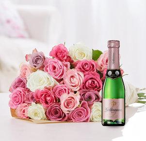 Blumenstrauß Rosengrüße mit Geldermann Rosé in Weiss, Rosa und Creme
