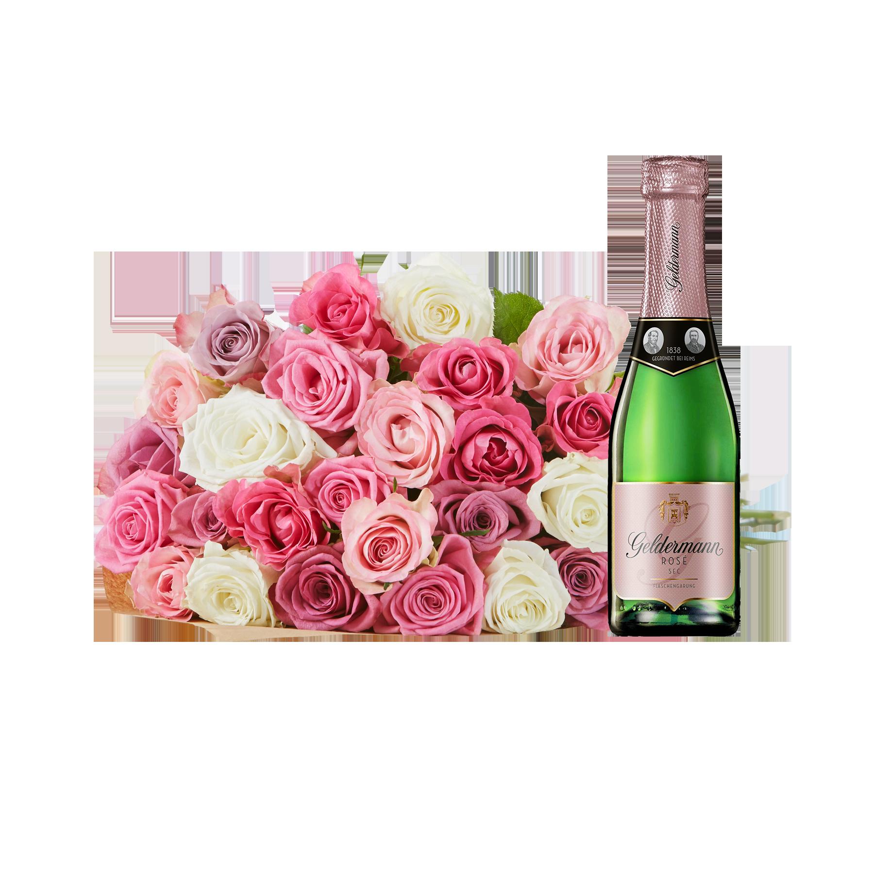 #Blumenstrauß Rosengrüße mit Geldermann Rosé#