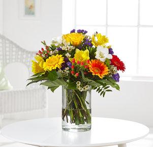 Blumenstrauß Muntermacher in Weiss, Rot, Gelb, Orange und Lila