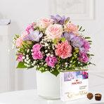 Blumenstrauß  Blumenkuss Größe M mit Hachez Zum Geburtstag
