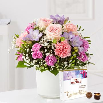 Blumenkuss Größe M mit Hachez Zum Geburtstag