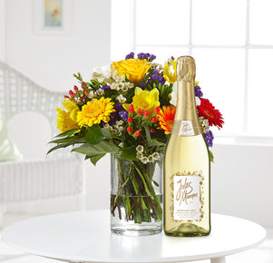 Blumenstrauß Farbenglück M mit Sekt Jules Mumm in Weiss, Rot, Gelb, Orange und Lila