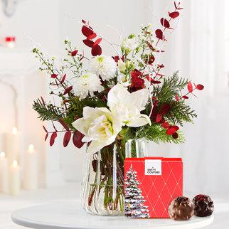 Blumenstrauß Nordic Treasure mit 4 französischen Pralinen in Weiss und Rot