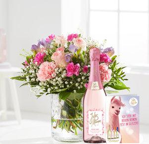 Blumenstrauß Blumenkuss mit Sekt Jules Mumm rosé, 0,75 l und Grußkarte in Weiss, Rosa, Pink und Lila