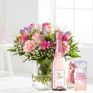 Blumenkuss mit Sekt Jules Mumm rosé, 0,75 l und Grußkarte