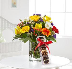 Blumenstrauß Farbenglück Größe M mit Kleine Weltreise in Rot, Gelb, Orange und Lila