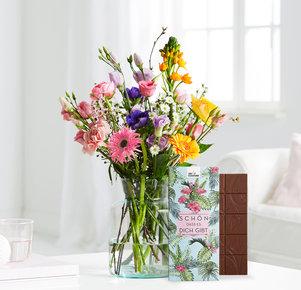 Blumenstrauß Blooming Heaven Größe M mit Schokotafel Schön, dass es Dich gibt in Weiss, Orange, Blau, Rosa, Pink und Lila