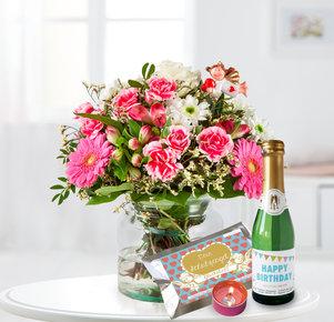 Blumenstrauß Schutzengel mit Geburtstagssekt und Glückslicht Schutzengel in Weiss, Rot, Rosa, Pink und Grün